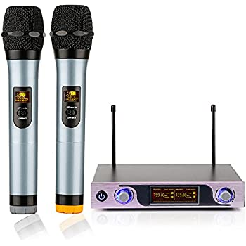 archeer vhf wireless microphone system handheld professional home ktv set with dual. Black Bedroom Furniture Sets. Home Design Ideas