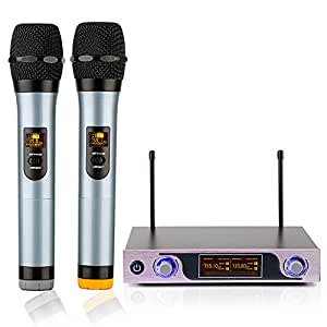 archeer vhf wireless microphone system with led display and dual handheld. Black Bedroom Furniture Sets. Home Design Ideas