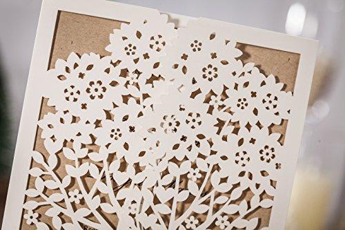 100x Wishmade White Tree Design Wedding invitation card, business invitation card, Party invitation card CW6176 by wishmade (Image #4)