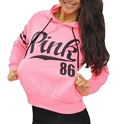 Womens Active Sweatshirt Long Sleeve Athletic Hooded Pullover S Pink (Pink Womens Sweatshirt)