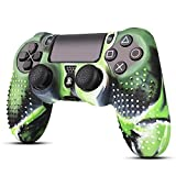 TNP PS4/Slim/Pro Controller Skin Grip Cover Case Set - Protective Soft Silicone Gel Rubber Shell & Studded Anti-slip Thumb Stick Caps for Sony PlayStation 4 Controller Gaming Gamepad (Camou Green)