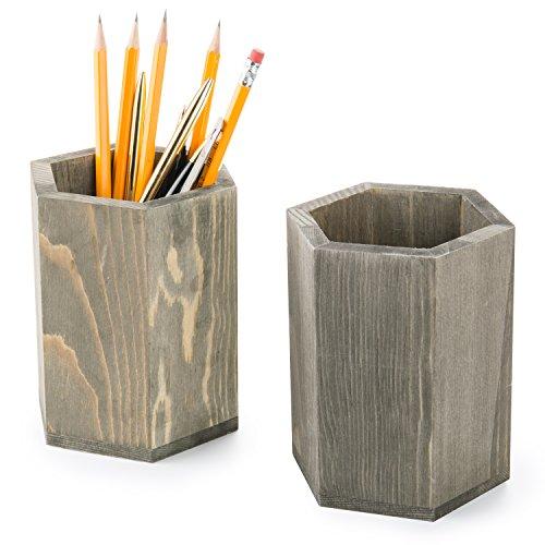 MyGift Rustic Gray Wood Hexagonal Pen & Pencil Holder Cups, Set of 2