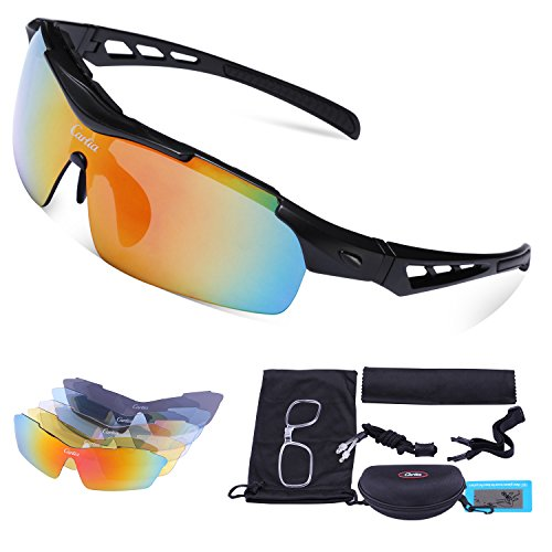 Sport Sunglasses - Carfia Polarized Sunglasses for Men and Women with 5 Interchangeable Lenses, Cycling Running Fishing Hiking Skiing Golf, TR90 Unbreakable Frame Ultra - Prescription Sunglasses Golf