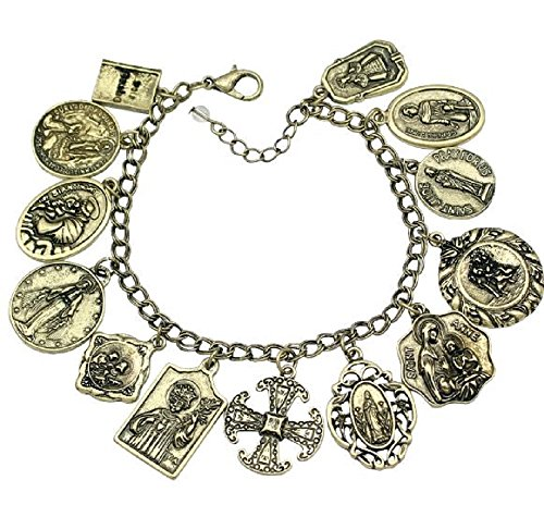 Saint Anthony Costume (Antique GOLD TONE Catholic Religious Church Medals Saints PRAY FOR US Cross Chain Bracelet Bangle)