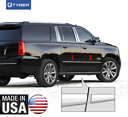 Made in USA! Works with 2015-2018 Chevy Suburban GMC Yukon XL Body Side Molding Trim 4PC Overlay