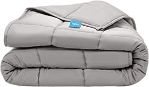 LUNA Adult Weighted Blanket | Natural Silky Cooling Bamboo & Premium Glass Beads | 20 lbs - 48x72 - Full Size Bed | Designed in USA | Heavy Cool Weight for Hot & Cold Sleepers | Light Grey