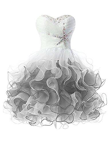 Sweetheart AN1184 Beaded Dress Short Anlin Grey Ruffle Prom Steel A Women's Line Homecoming TExqZnv