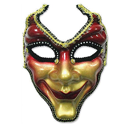 Bristol Novelty EM372 Full Face Mask On Headband, Red and Gold, One Size