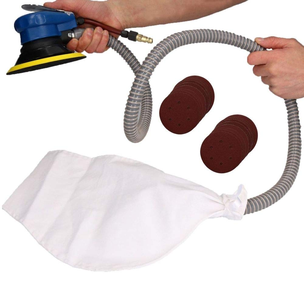 6'' / 150mm Air Orbital Palm Sander Dust Free Sanding + 20 Pads Mixed grit by Tao tao family