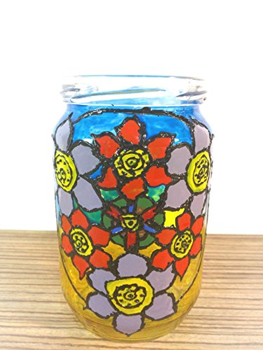 Stained glass vase, stained glass candleholder, mandala painting, mandala vase, mandala glass painting ()