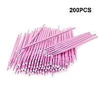 200 Stück Einweg Microbürsten, Wimpernbuerste für Wimpernverlängerung (Rosa)