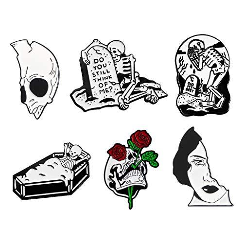 LoveinDIY 6Pcs Halloween Cartoon Brooch Pins Skull Enamel Brooches Lapel Pins Badge Women Girls Children Clothing Bag Decor from LoveinDIY