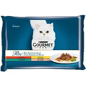 Purina Gourmet Perle Finas Láminas en Salsa comida para gato en Variedades de Buey, Pollo, Conejo y Salmón 12 x [4 x 85…