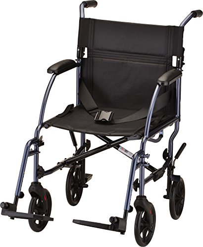 Red Light Changer - NOVA Medical Products Lightweight Transport Chair, Blue, 18 Inch, 20 Pound