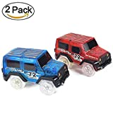 twister trax light up cars - Car Track,MIGE Light Up Toy Car(2-Pack) Glow in the Dark Racing Track Accessories Compatible with Most Tracks,Boys and Girls(Blue and Red)