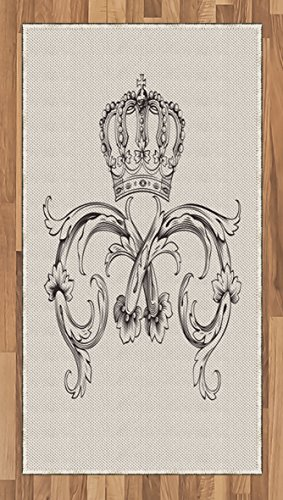(Lunarable Medieval Area Rug, Royal Crown with Vintage Curves King Palace Ribbon Monochrome Retro Style, Flat Woven Accent Rug for Living Room Bedroom Dining Room, 2.6 x 5 FT, Beige Dark Brown)