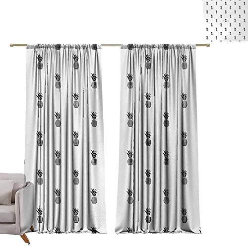 - Bedroom Curtains Black and White,Monochrome Pineapple Design Hawaiian Healthy Tropical Fruit Pattern,Black and White W96 x L84 Printed Window Curtains for Kitchen