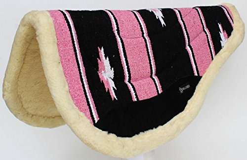 (CHALLENGER Cotton Western Horse Saddle PAD 32x30 Round Wool Felt Fleece Back Pink 3476)