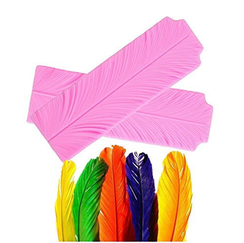(set of 2)JUMBO SIZE Feathers Veiner Cake Fondant Mold,Candy Making Cake Decorating Chocolate Mold For Sugar Craft Gum Paste Polymer Clay