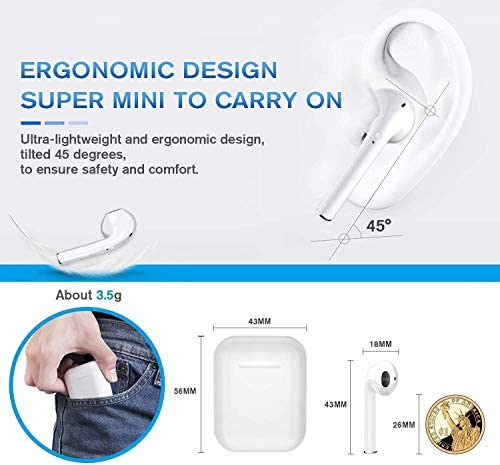 Wireless Earbuds, Bluetooth Headset Mini Size, Stereo in-Ear Wireless Headset with Microphone and Charging Box, Bluetooth Earphone with Noise Reduction Compatible with
