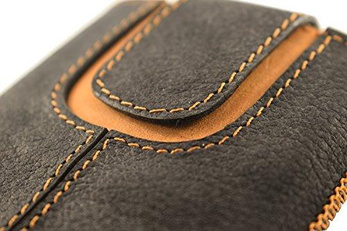 OrLine Etui Case Lederetui für Apple Iphone 5 S Echt Leder Case Ledertasche Tasche Lederetui mit Magnetverschluss in der Farbe anthrazit/orange Handarbeit