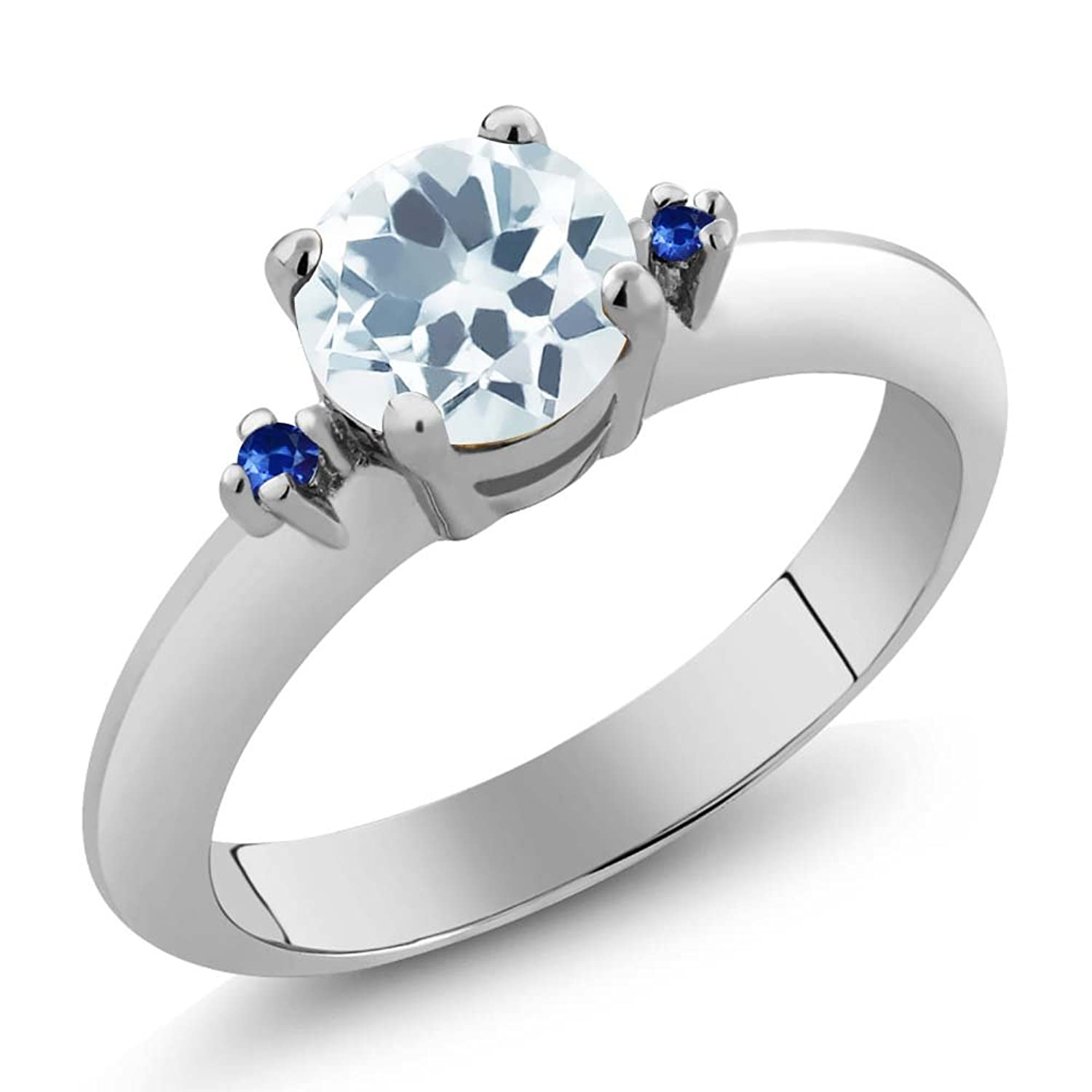 0.77 Ct Round Sky Blue Aquamarine Blue Sapphire Sterling Silver Ring