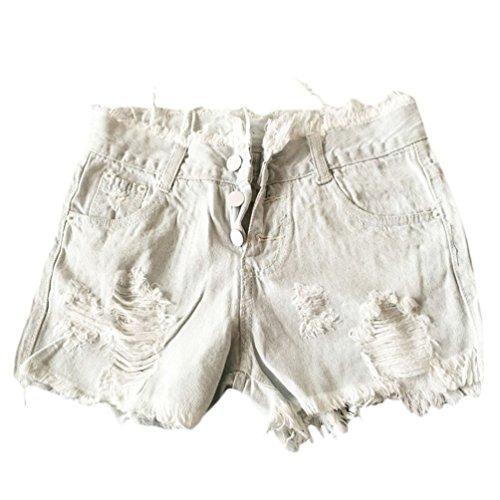 Pantalon Moda Blanco Hollow Basicas Elegantes Vaqueros Skinny Verano Corto Casual Cortos Mujer Pantalones Rotos Shorts w76XqX