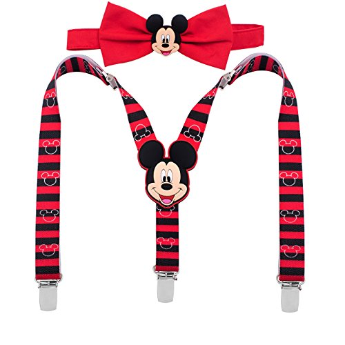Disney Mickey Mouse Red/Black Striped Suspenders and Bowtie Set - Toddler Boys [5013]