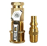 """DozyAnt Propane or Natural Gas 1/4"""" Quick Connect Kit - Shutoff Valve & Full Flow Plug - 100% Solid Brass"""