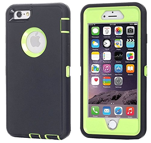 iPhone 6 Case, iPhone 6S Case [HEAVY DUTY] AICase Built-in Screen Protector Tough 3 in 1 Rugged Shorkproof Cover for Apple iPhone 6/6S (Black/Green)