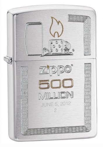 Zippo Brushed Chrome 500 Millionth Lighter, Silver ()