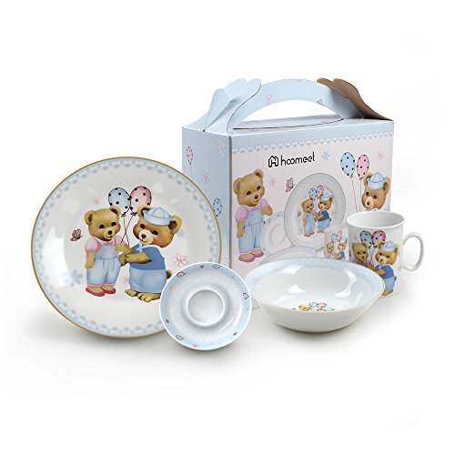 Hoomeet Porcelain Dinnerware Set, 4-Piece Pretty Bear Tableware Set, (Kids Ceramic)