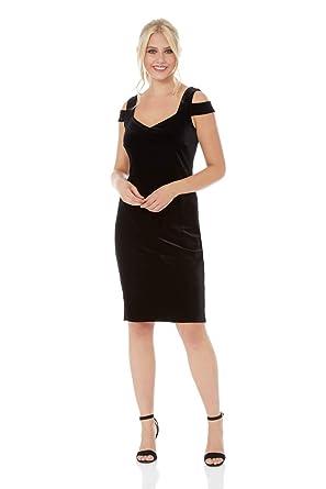 25a00b87d495 Roman Originals Women Velvet Cold Shoulder Little Black Dress - Ladies Christmas  Party Formal Glamorous Sweetheart