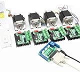 4 Axis Nema23 Stepper Motor 270oz-in 76mm 3A Dual Shaft+TB6560 MD430 Driver CNC Controller Kit for CNC Router Engraving Milling Machine