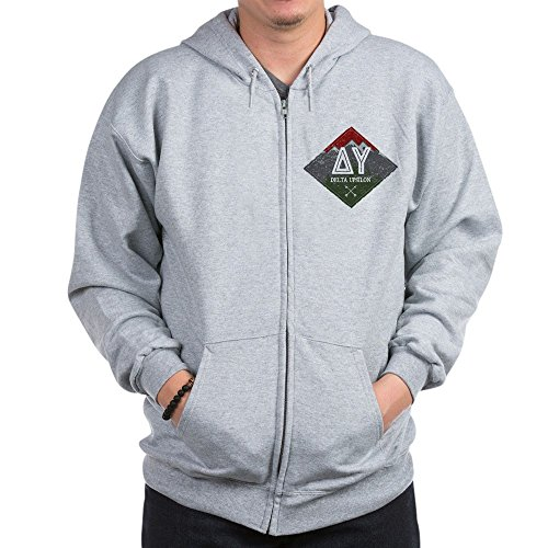 CafePress Delta Upsilon Mountains Diamonds Sweatshirt Zip Hoodie, Classic Hooded Sweatshirt with Metal Zipper Heather Grey