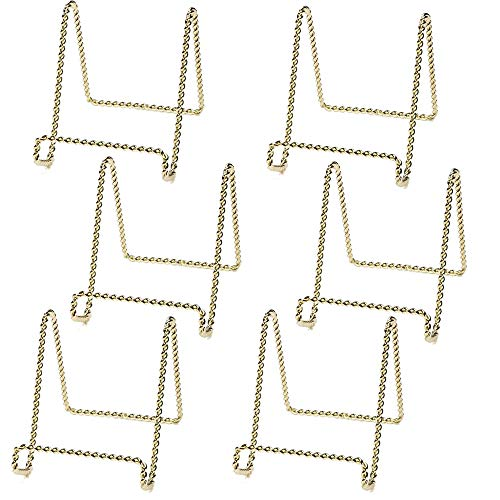 HOHIYA Plate Stand Display Easel Holder Metal Twist 3inch(Gold,Pack of 6)