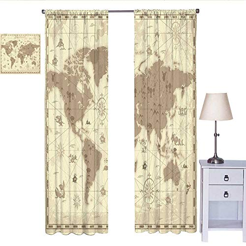 W Machine Sky Map Black Out Window Curtain Aged Retro Styled Map of The World with Mountains Fantasy Monsters and Compass Curtain Valance Sepia Light Yellow W84 x L84