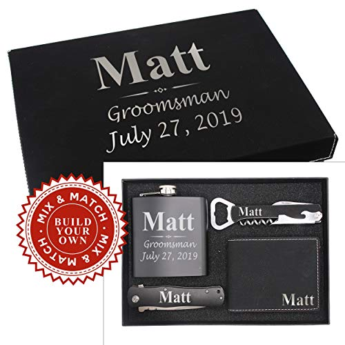 Custom Engraved and Personalized Groomsmen Gift Box Set for Groomsman, Groom, Best Man - Monogrammed Wedding Party, Proposal, Thank You Favor Boxes - 3-Lines Style