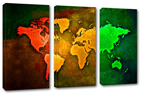 "HUGE – 90x60 – World Map, Pop Art Triptych - 3 Panel Split (Triptych) Canvas Print. (30x60 each panel). Gallery Wrap Stretched on 1.5"" setretcher bars."