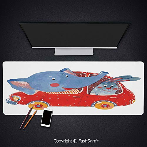 Personalized Large Mouse Pad Watercolor Sketch of Young Blushed Elephant and Hare in Small Car Best Friend Travel Keyboard Pad for -