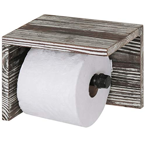 (MyGift Torched Wood & Pipe Wall-Mounted Toilet Paper Holder & Shelf)
