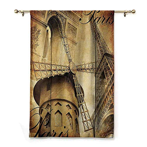 Polyester curtain Eiffel Tower Decor Collection Parisian Architecture Monument Vacation Tourist Destination Vintage Style Pattern Thermal Insulated Block Out Sunlight Shade W27