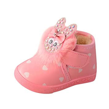 4252202ef9853 Amazon.com   SMYTShop Baby Girls Infant Toddler Autumn Winter Lovely Rabbit  Warm Snow Boots 6 Months-3 Years Old (6-9 Month
