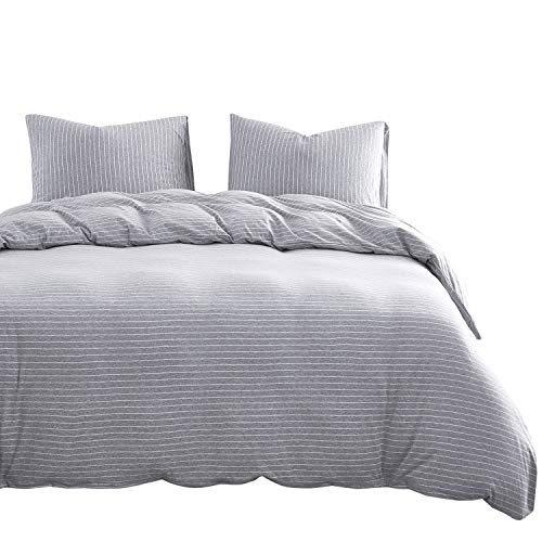Wake In Cloud - Jersey Cotton Duvet Cover Set, White Pin Striped Stripes on Gray Grey, Comfy Soft Bedding with Zipper Closure (3pcs, Queen Size) ()
