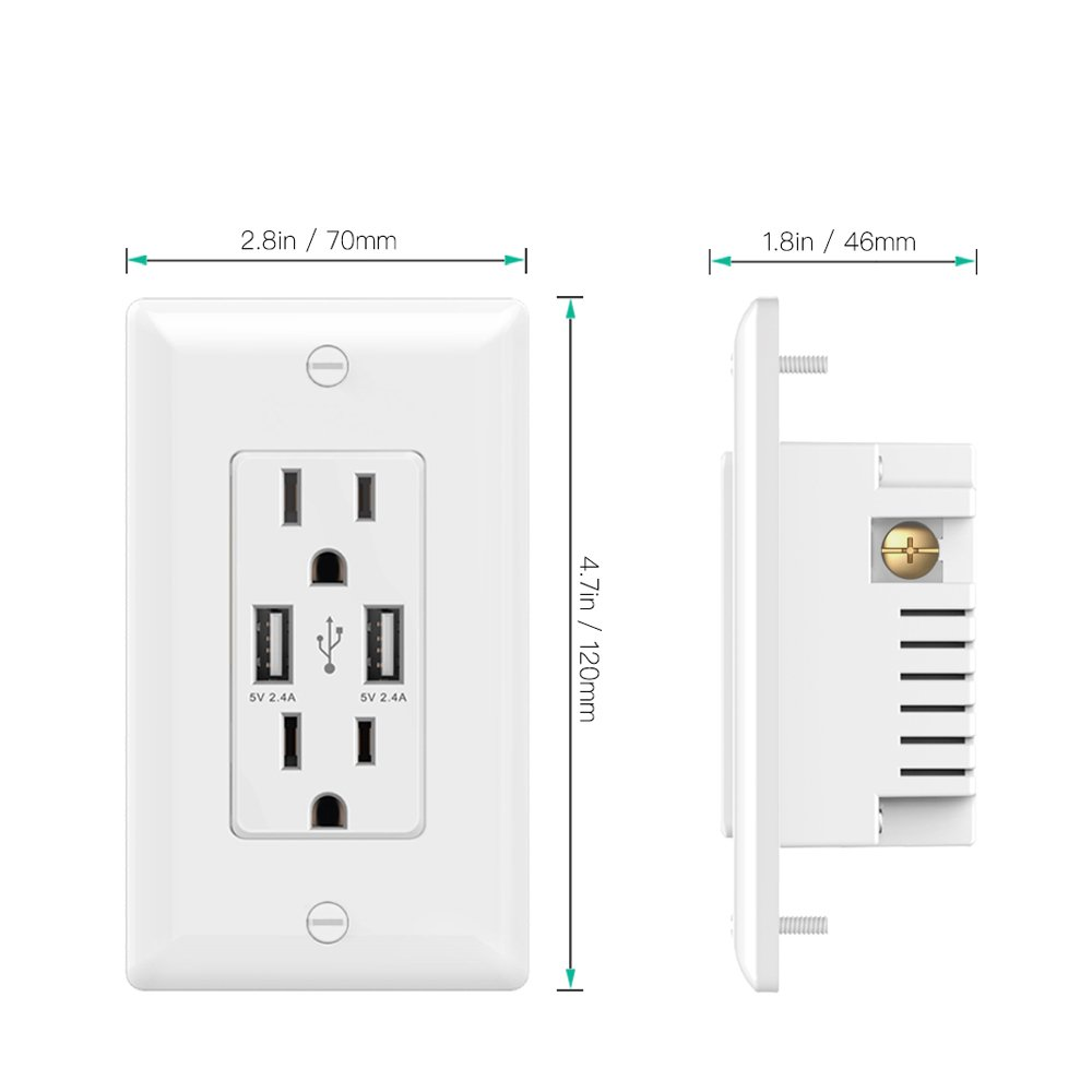Smart High Speed 24a 5v Dual Usb Charger Outlet 15 Amp 125v Leviton Phone Jack Wiring Diagram Http Wwwebaycom Itm Receptacle Wall Socket Plate