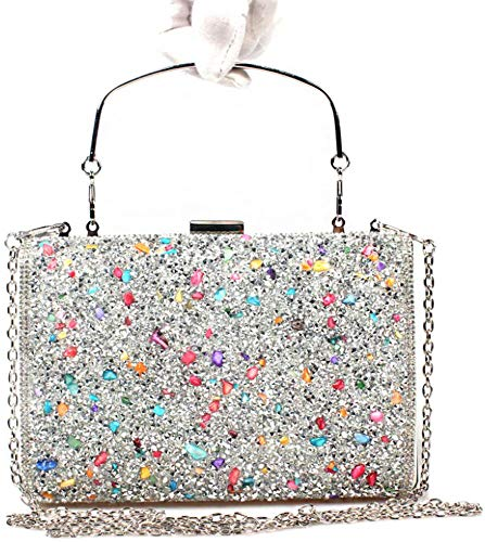 Colourful Women Bettyhome Purse Evening Party Clutches Silver Bag Wedding Handbags Rhinestone Handle 51grnxw1S