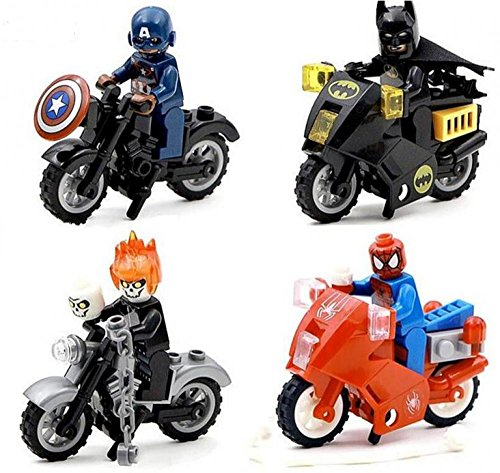 4Pcs SY220 Minifigure Building Block Toys Captain America Spider Man Batman Ghost Rider With Motorcycle DC Marveles Super Heroes lodër figurë game