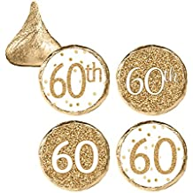 60th Birthday Party Favor Stickers - White and Gold (324 Count)