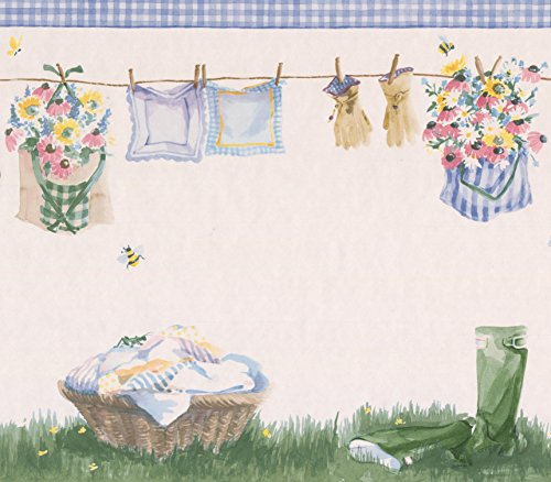 Wallpaper Room Borders Laundry - Laundry Basket Drying Line with Clothes Hanging Eggshell White Wallpaper Border Retro Design, Roll 15' x 10.5''
