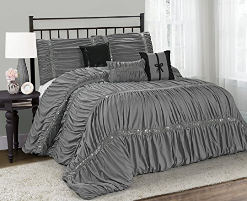 7 Piece CLARAITA Chic Ruched Pleated Comforter Set-Queen King Cal.King Size (Queen, Gray) (Dark Grey Comforter Set)